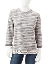 Hannah Marled Knit Crochet Trim Top
