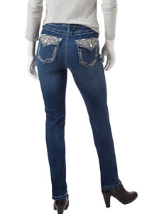 Earl Jean Petite Dark Wash Bling Skinny Jeans