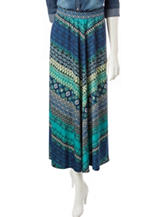 NY Collection Petite Chevron Print Maxi Skirt