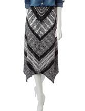 NY Collection Petite Chevron Midi Skirt