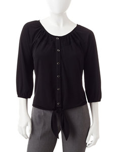 NY Collection Black Shirts & Blouses