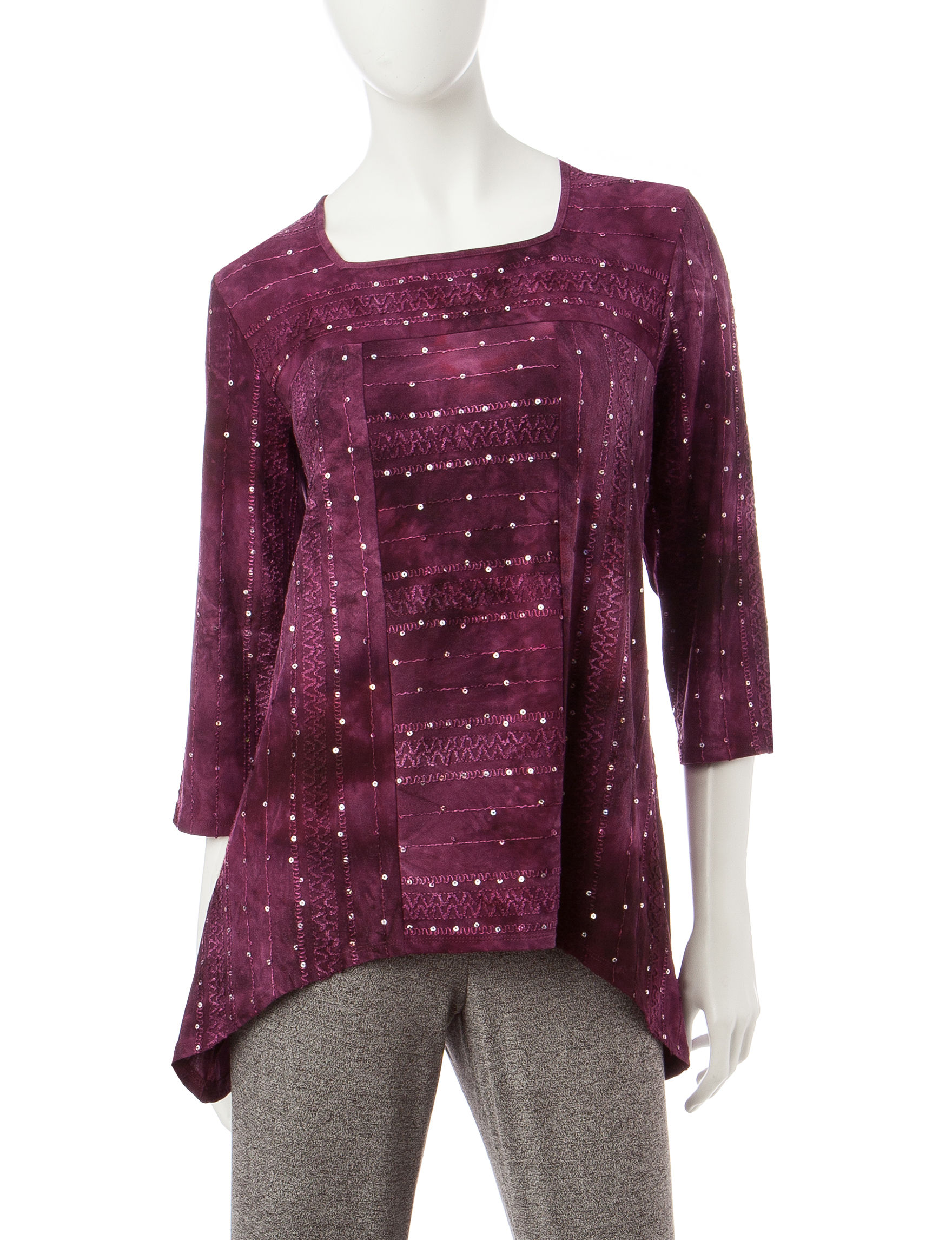 Alfred Dunner Wine Shirts & Blouses