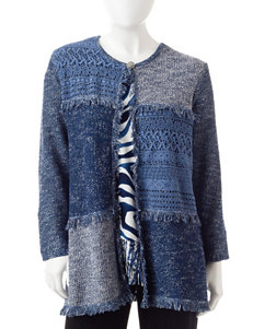 Alfred Dunner Navy Multi Cardigans