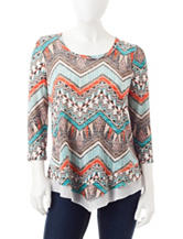 Signature Studio Petite Mixed Print Top