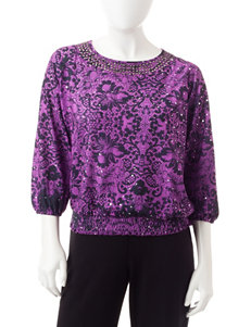 Cathy Daniels Purple / Black Shirts & Blouses