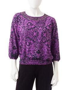 Cathy Daniels Purple / Black Shirts & Blouses