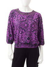 Cathy Daniels Petite Lace Print Embellished Top