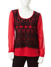 NY Collection Petite Lace Overlay Top