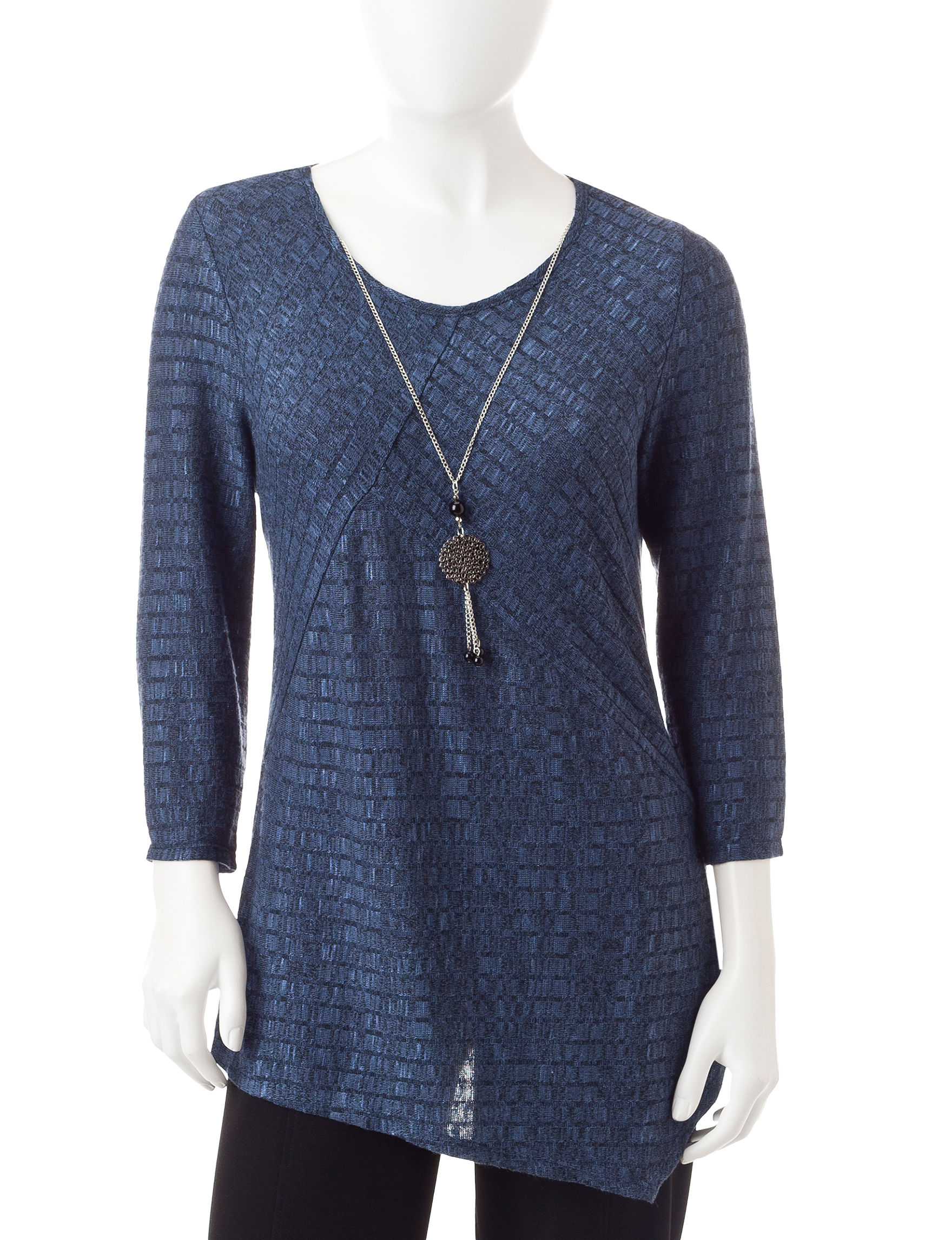 NY Collection Blue Shirts & Blouses