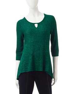 NY Collection Petite Ribbed Knit Keyhole  Top