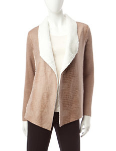 Alfred Dunner Petite Knit Faux Sherpa Jacket