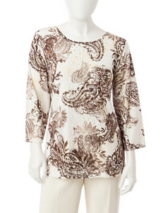Alfred Dunner Petite Paisley Print Top