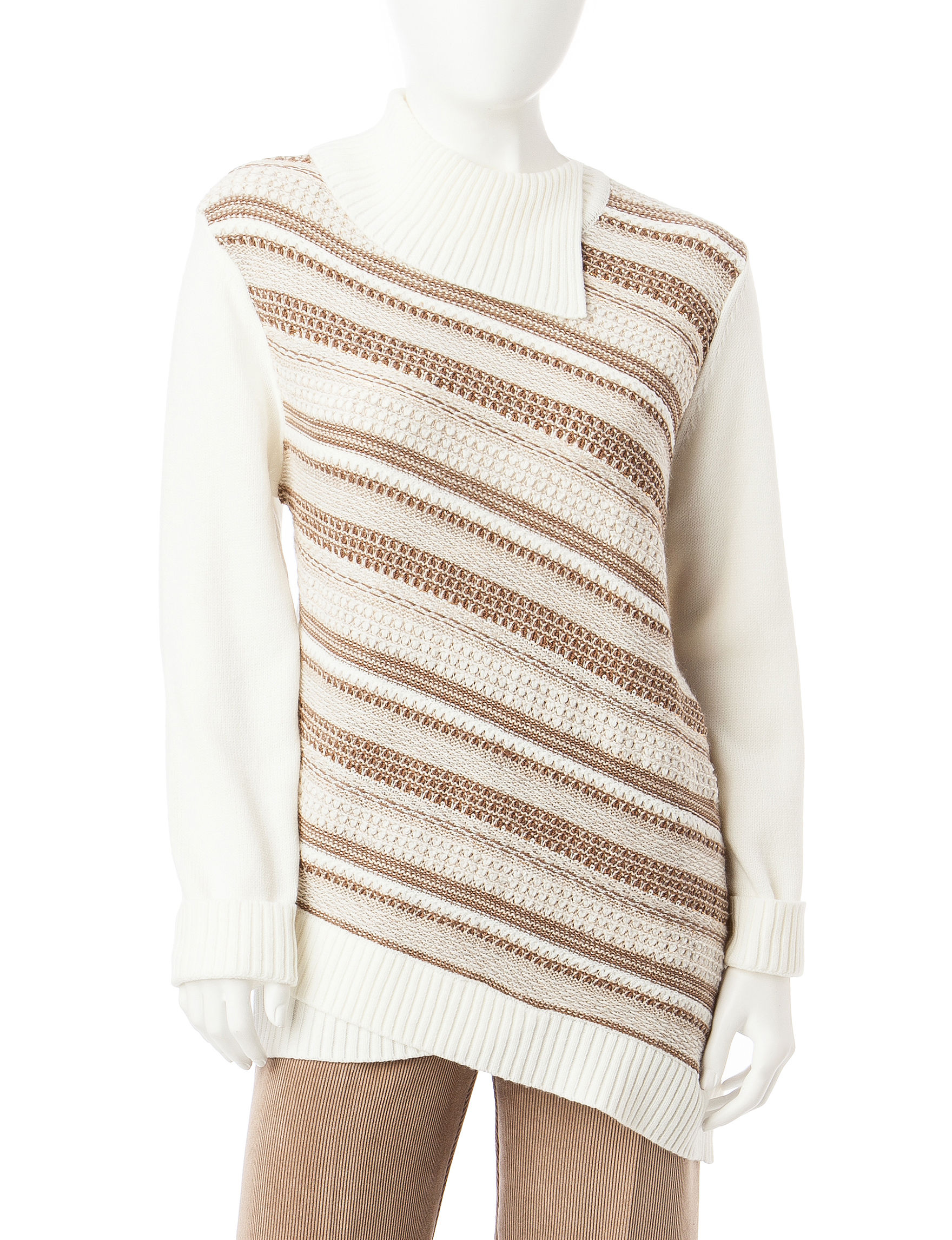 Alfred Dunner Tan / White Sweaters