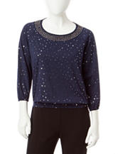Cathy Daniels Petite Embellished Knit Top