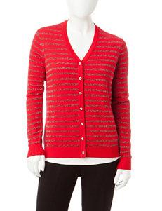 Cathy Daniels Petite Metallic Striped Knit Cardigan