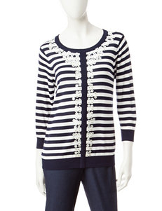 Cathy Daniels Petite Embellished Striped Print Sweater