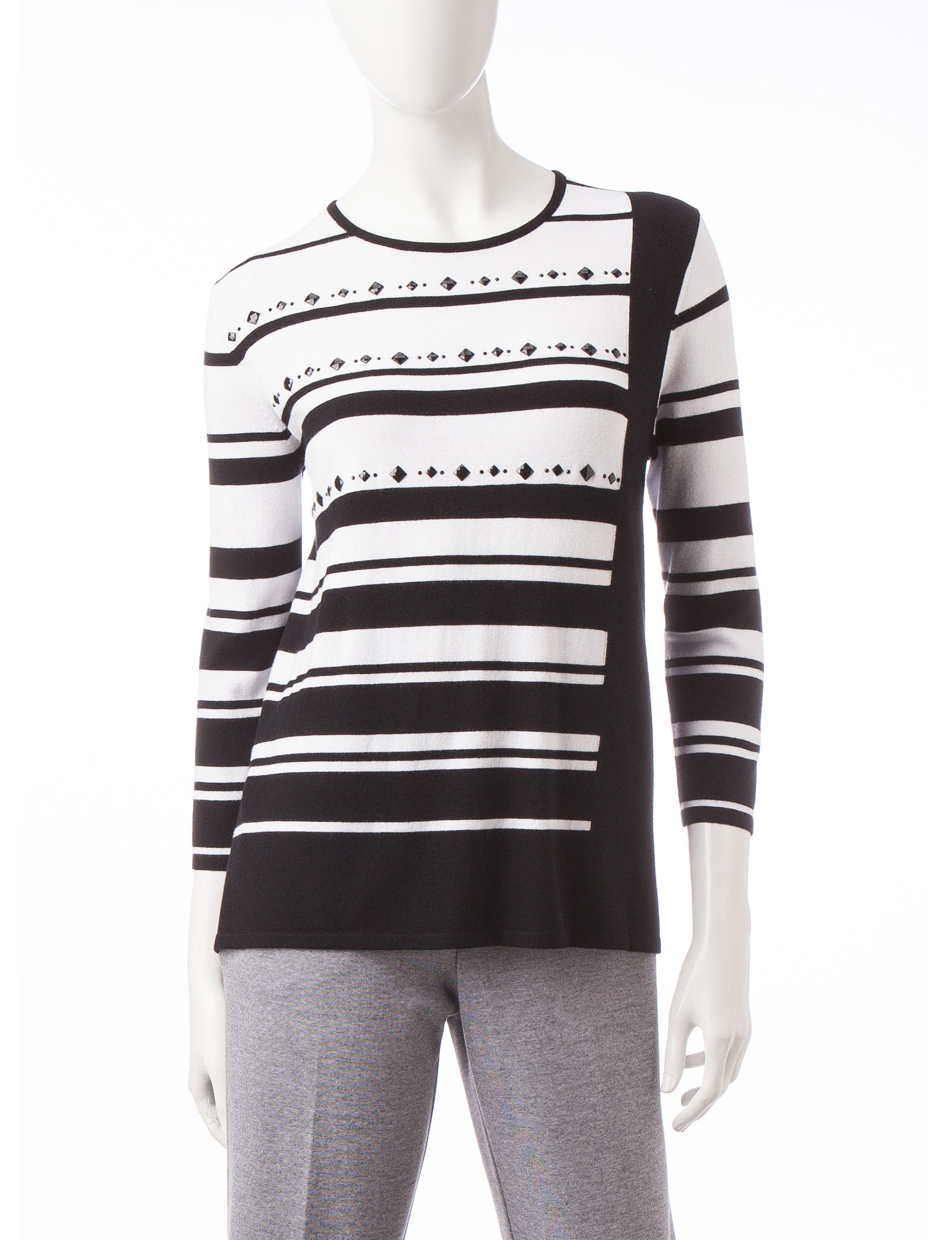 Alfred Dunner Black Multi Shirts & Blouses
