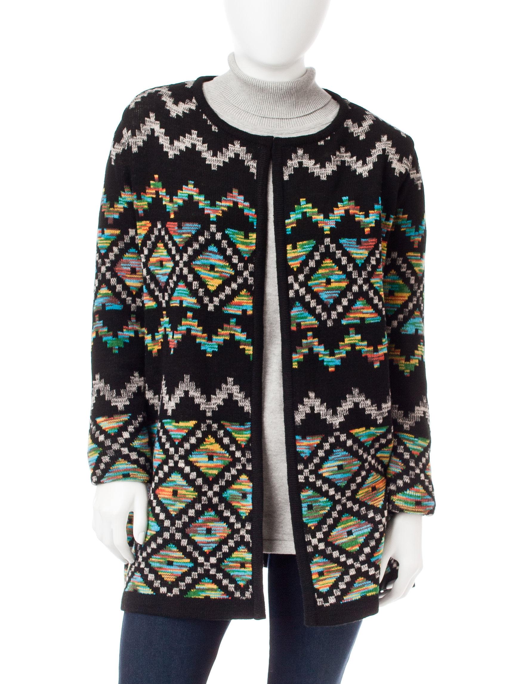 Signature Studio Black Multi Cardigans Sweaters
