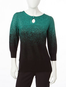 NY Collection Green Pull-overs Sweaters