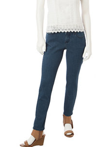 Earl Jean Petite Polka Dot Print Skinny Jeans