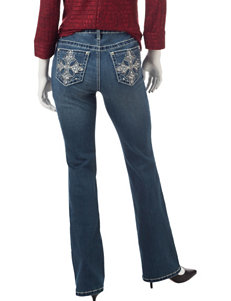 Earl Jean Petite Cross-Patch Bling Bootcut Jeans