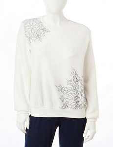 Alfred Dunner Petite Asymmetrical Snowflake Sweater