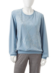 Alfred Dunner Petite Diamond Embroidered Top