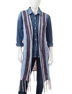 NY Collection Petite Space Dye Fringe Vest