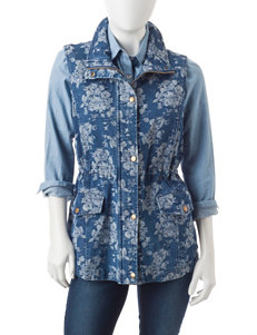 Hannah Petite Floral Print Medium Wash Denim Vest