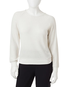 Cathy Daniels Petite White Textured Knit Top