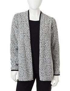 Rebecca Malone Petite Black & White Jacquard Print Layered-Look Top
