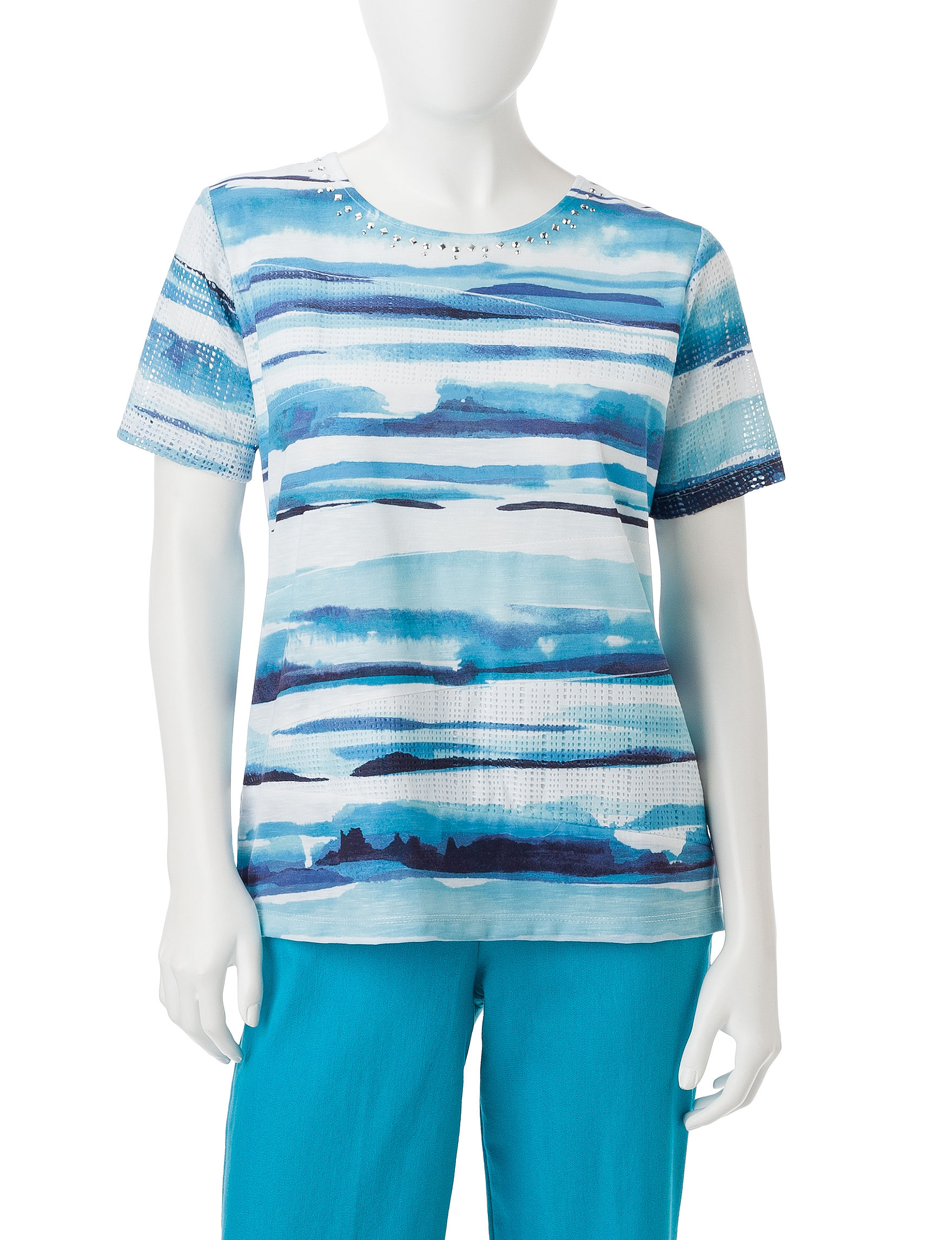 Alfred Dunner Blue / White Shirts & Blouses