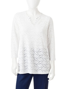 Alfred Dunner Petite Lace Textured Top