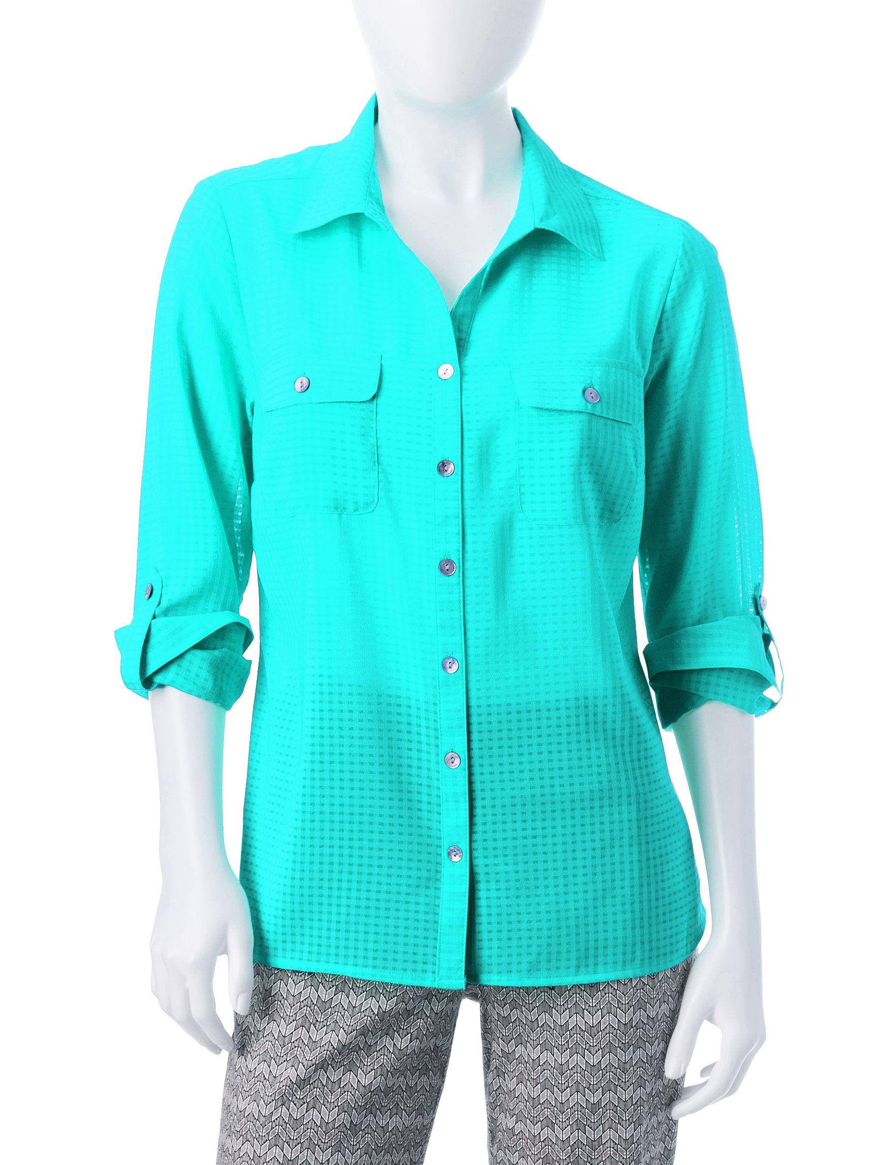 NY Collection Aqua Shirts & Blouses