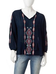 Earl Jean Navy Shirts & Blouses