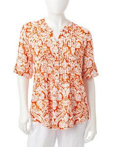Cathy Daniels Orange / White Shirts & Blouses
