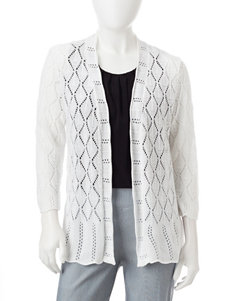 NY Collection White Cardigans Shrugs Sweaters
