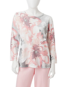 Alfred Dunner Pink / Grey Shirts & Blouses