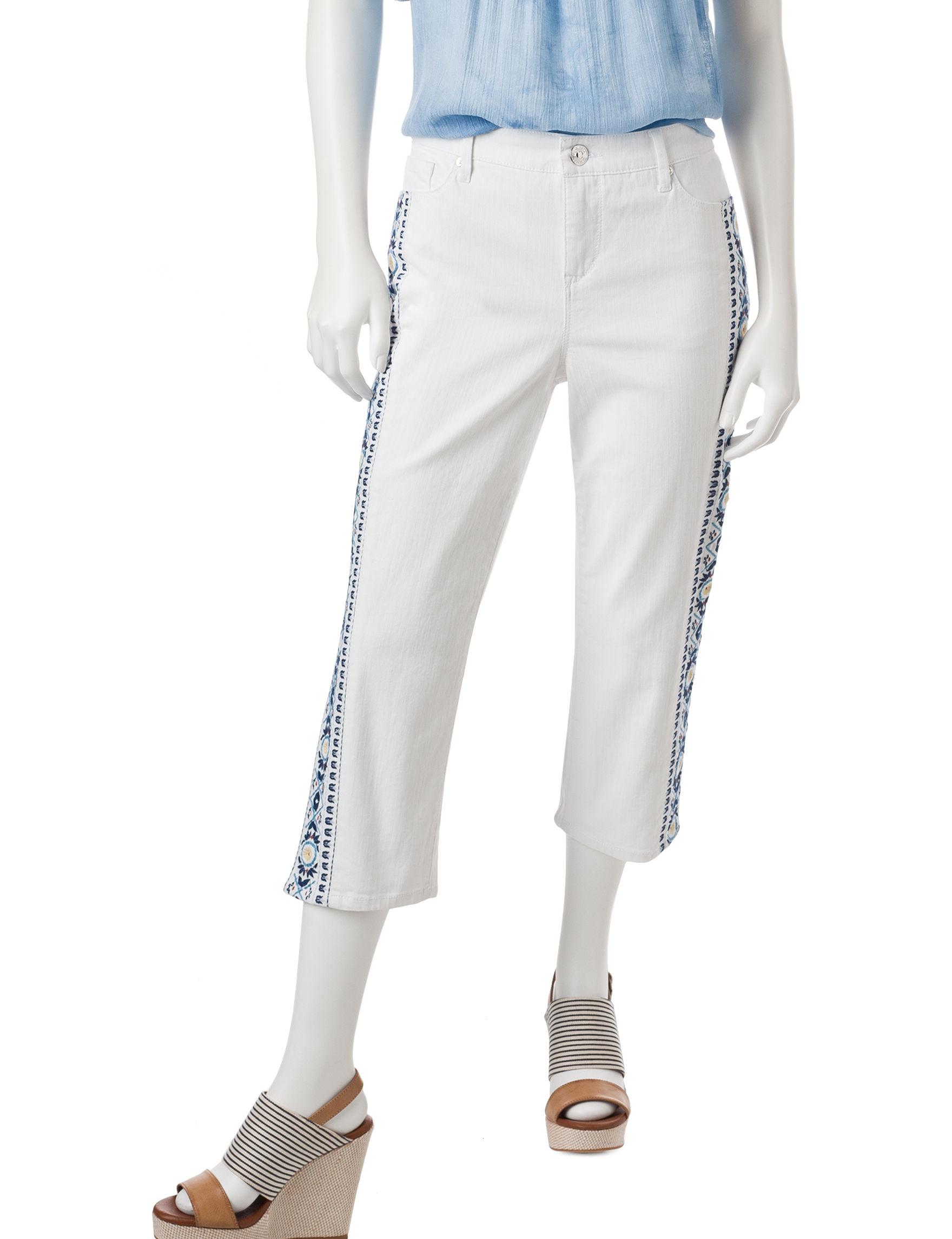 Gloria Vanderbilt White Capris & Crops Stretch