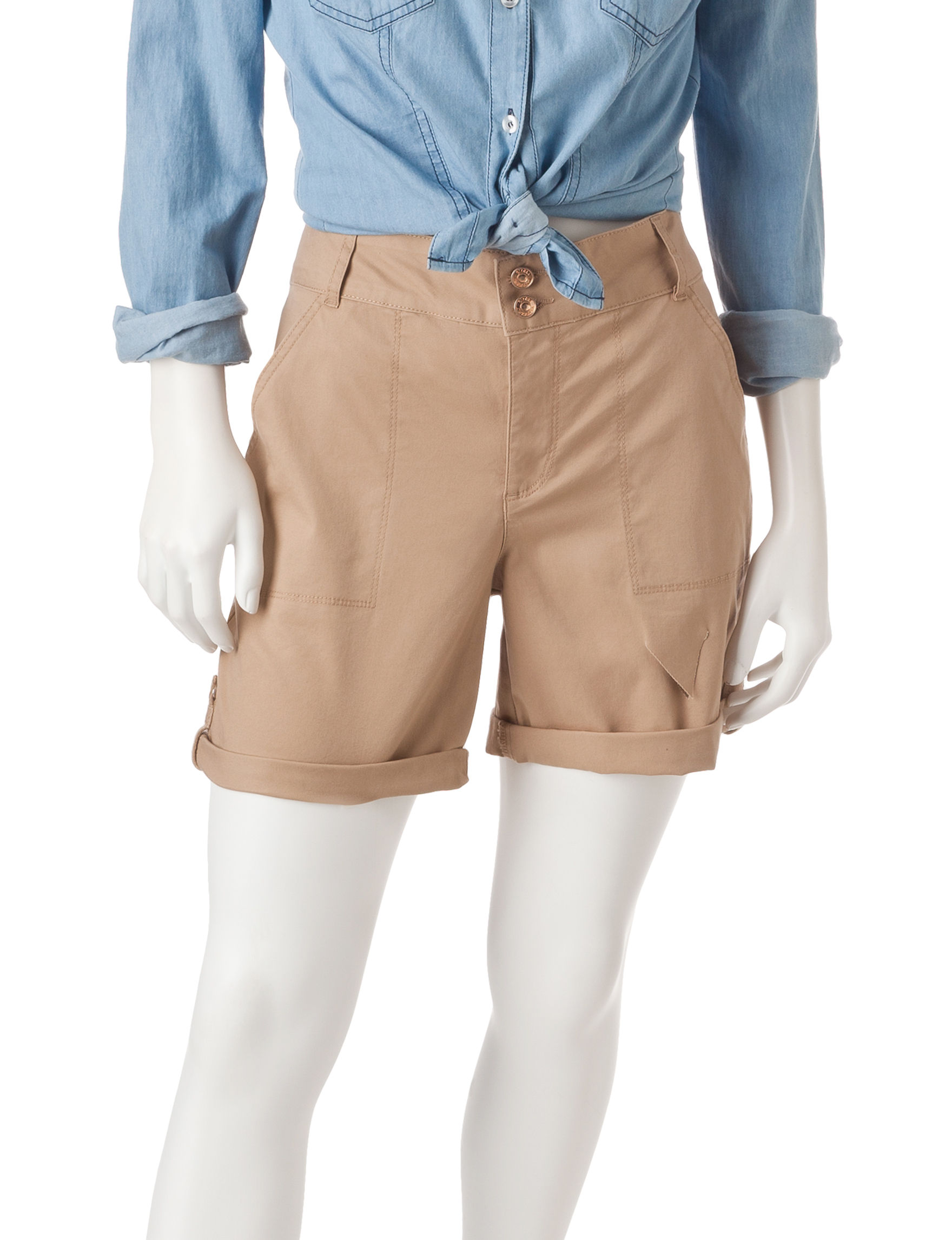 Gloria Vanderbilt Beige/Khaki Denim Shorts