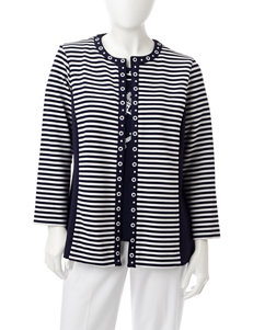 Alfred Dunner Petite Striped Ottoman Jacket