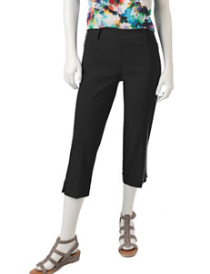 Zac & Rachel Black Capris & Crops Classic Modern Slim Slim Straight Straight Stretch