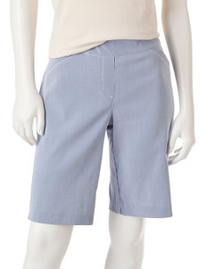 Briggs New York Blue / White Capris & Crops Skinny Stretch Tailored Shorts