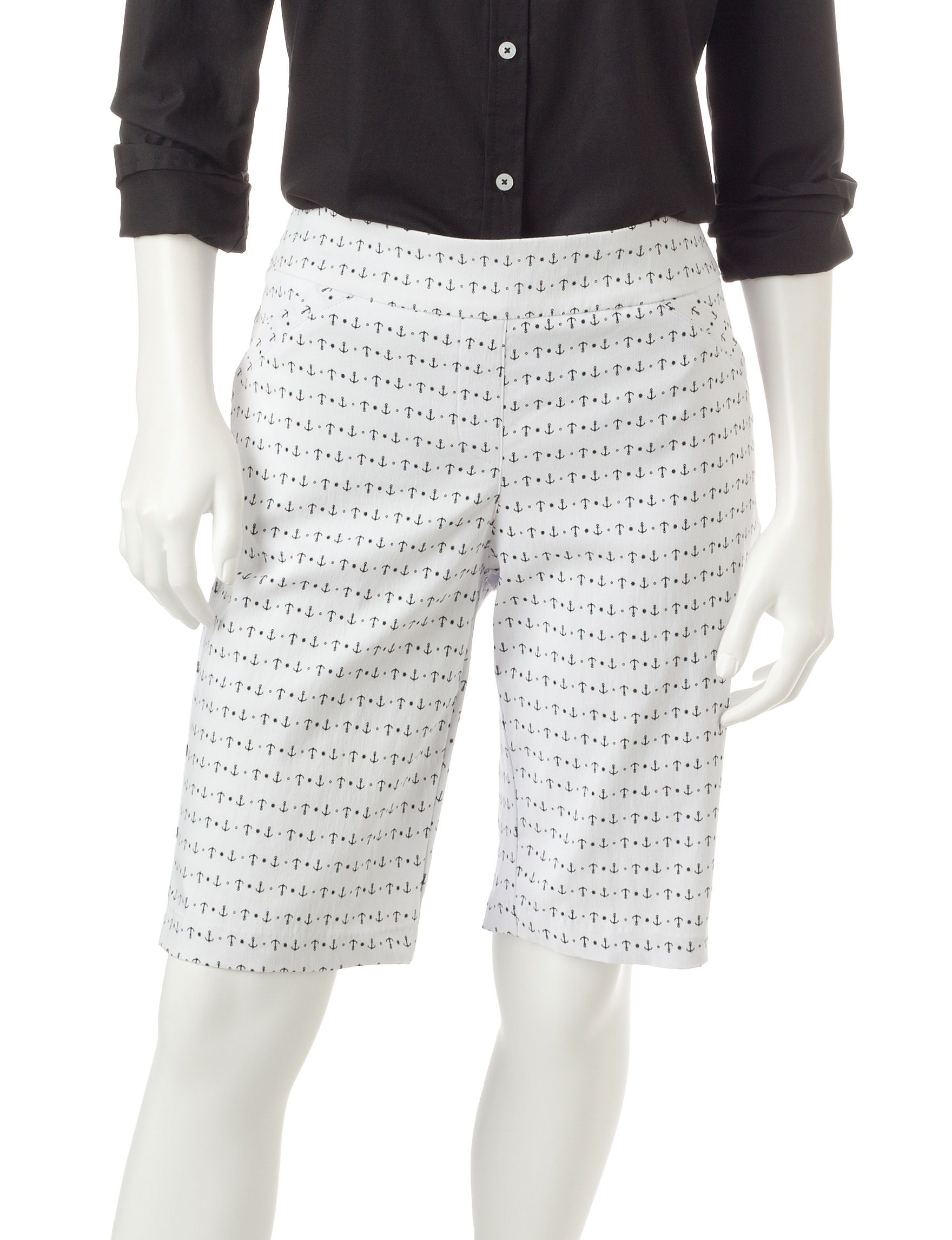 Briggs New York White / Black Capris & Crops Stretch Tailored Shorts