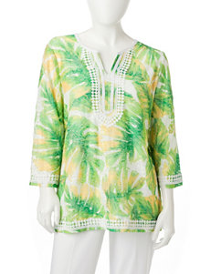 Alfred Dunner Green Multi Shirts & Blouses