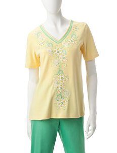 Alfred Dunner Petite Center Floral-Embroidered Top
