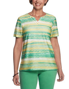 Alfred Dunner Green Multi Tees & Tanks