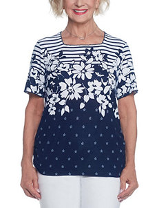Alfred Dunner Navy Tees & Tanks