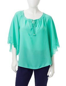 NY Collection Turquoise Shirts & Blouses