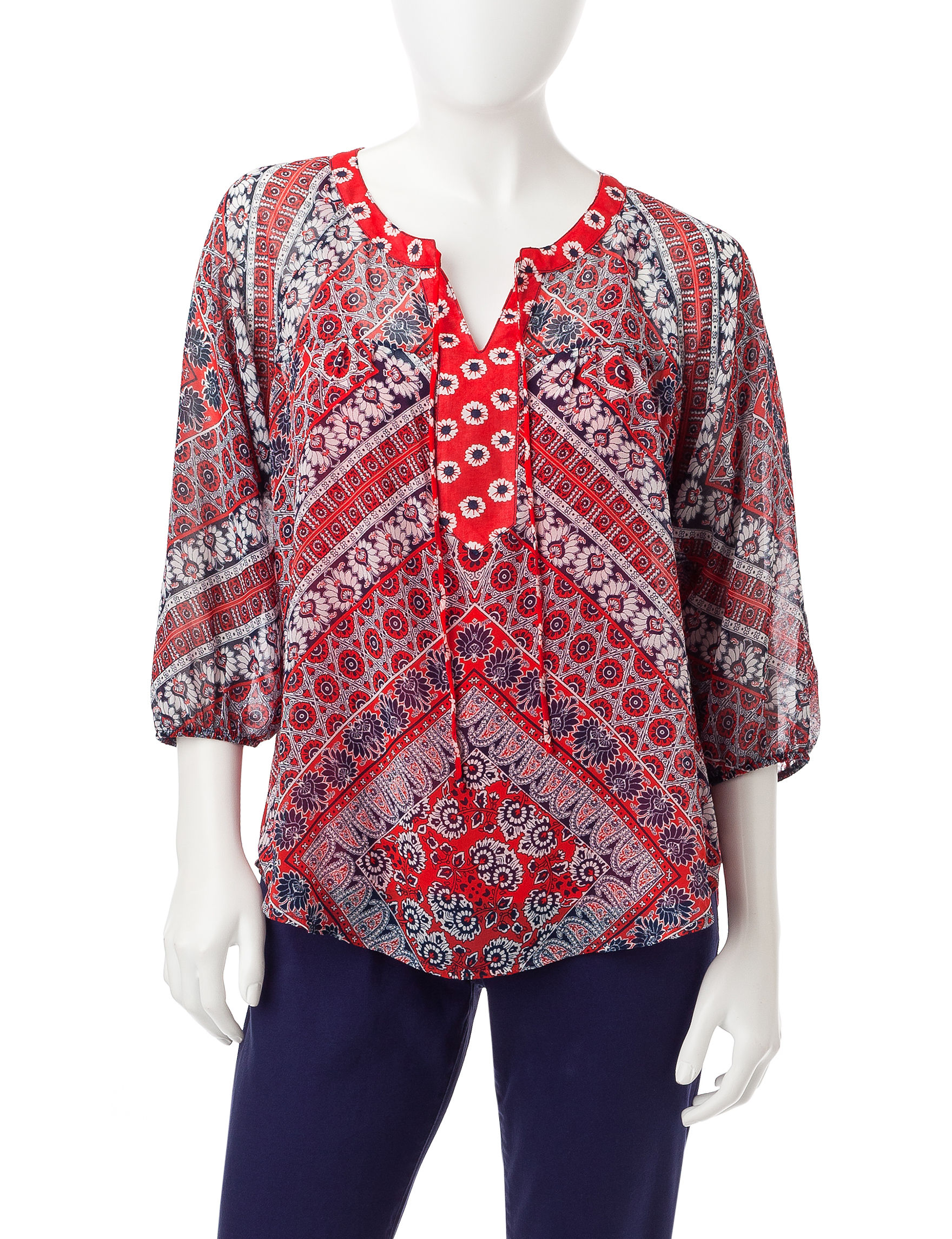 Figuero & Flower Red / White / Blue Shirts & Blouses
